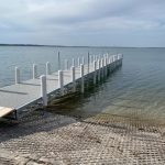 """New """"Spillway"""" dock on the south shore of Big Spirit Lake"""